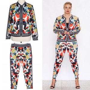 Camo Florals 1X Track Suit Jacket & Leggings Set